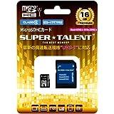 スーパータレント UHS-I microSDHCメモリーカード 16GB Class10 SDHC変換アダプタ付 ST16MSU1P