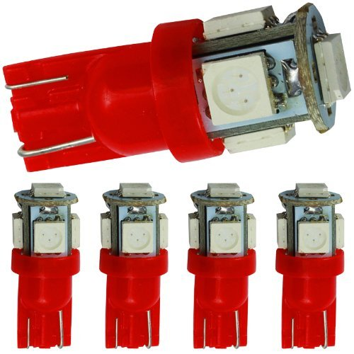 QuickFitLED 5x Red LED Car Lights Bulb T10 Direct Fit For T10 194 186 2825 5W5 Dome Map Trunk Color: Red, Model: , Car & Vehicle Accessories / - Of Mall Gardens The Map