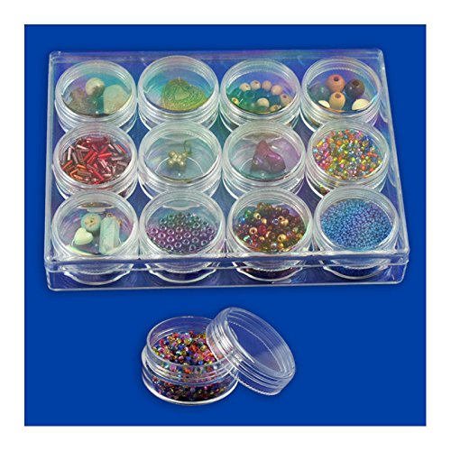 12pc Clear Bead Storage Gem Jars in Display Case - Screw-On Tops - 1-1/2 In. Round Jeweler's Tools 4336840123