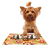 Kess InHouse Louise Machado Colorful Mix Red Orange Feeding Mat for Pet Bowl, 18 by 13-Inch