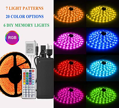 YIPBOWPT Led Strip Light Waterproof 32.8ft RGB SMD 5050 600leds Led Rope Light Color Changing Full Kit with 44 Keys IR Remote Control+24V Power Supply Led Lighting for Kitchen Indoor by YIPBOWPT (Image #2)