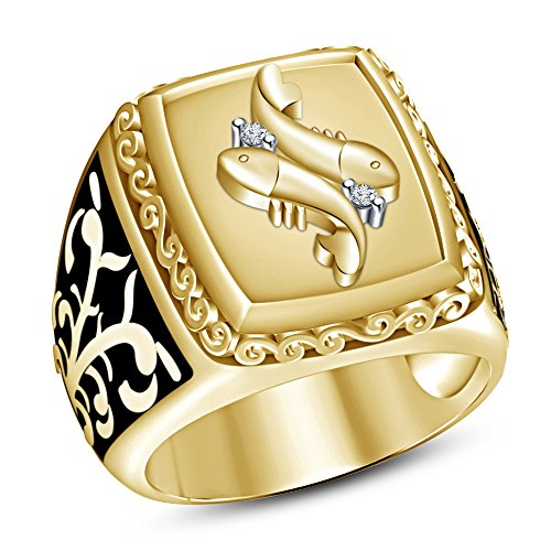 TVS-JEWELS 14k Gold Plated 925 Silver White Cubic Zirconia Pisces Zodiac Men's Gorgeous Ring (10)