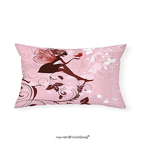 VROSELV Custom pillowcasesFantasy Fairy Pixie Girl Madam Butterfly with Curved Flower Cute Girls Surreal Print for Bedroom Living Room Dorm Light Pink Maroon(20''x30'') by VROSELV