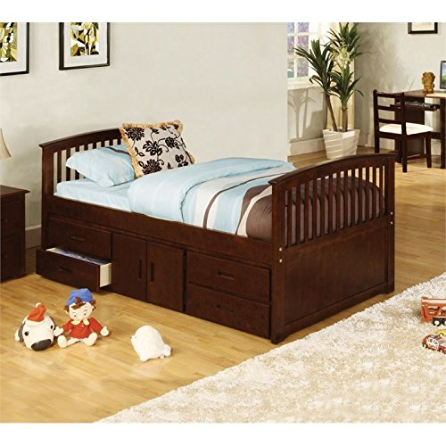HOMES: Inside + Out IDF-7032T Brinkley Mission Style Dark Walnut Captain Bed, ()
