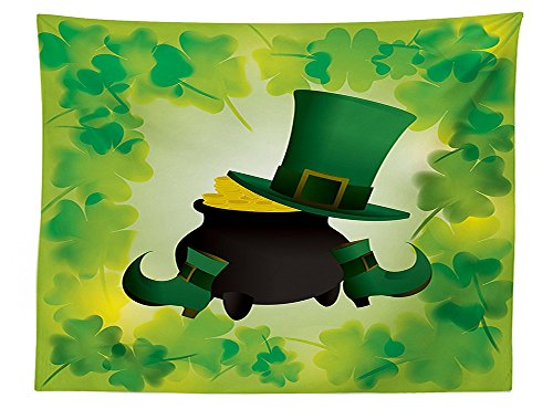 Sequined Alice Costumes (vipsung St. Patricks Day Tablecloth Leprechaun Hat and Shoes Costume with Pot of Gold with Shamrock Leaves Dining Room Kitchen Rectangular Table Cover Forest)