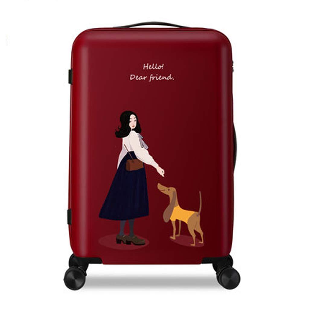 荷物トロリートロリー女性学生韓国学生スーツケース20&24インチ2つのサイズを選択することができます (色 : Red, サイズ さいず : 24inches) 24inches Red B07L6F2V18