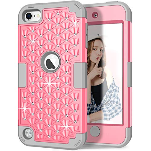 iPod Touch 6th/5th Generation Case, iPod Touch 6/5 Case, Hocase Bling Sparkle Glitter Shockproof Silicone Heavy Duty Protective Hard Case for iPod Model A1574/A1509/A1421 - Pink/Gray