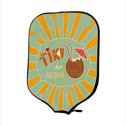 (Neoprene Pickleball Paddle Racket Cover Case,Tiki Bar Decor,Vintage Design Exotic Cocktail Aged Look Aloha Fun Party Decorative,Orange Almond Green Brown,Fit For Most Rackets - Protect Your Paddle)