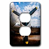 3dRose Alexis Photography - Transport Air - Abstracts of aviation - Propeller of a vintage aircraft. Color photo - Light Switch Covers - 2 plug outlet cover (lsp_271982_6)
