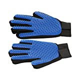 Pet Grooming Glove Dog hair Remover Gentle Petting Glove Brush Massage Tools With Enhanced Bathing Glove For Cats Dogs Long & Short Fur One Pair (Blue)