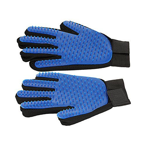 HSpet-HOME Pet Grooming Glove Dog hair Remover Gentle Petting Glove Brush Massage Tools With Enhanced Bathing Glove For Cats Dogs Long & Short Fur One Pair