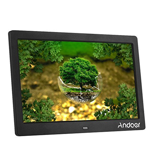 Andoer HD LCD Digital Photo Picture Frame 10 inch Wide Screen High Resolution 1024x600 Clock MP3 MP4 Video Player with Remote Control