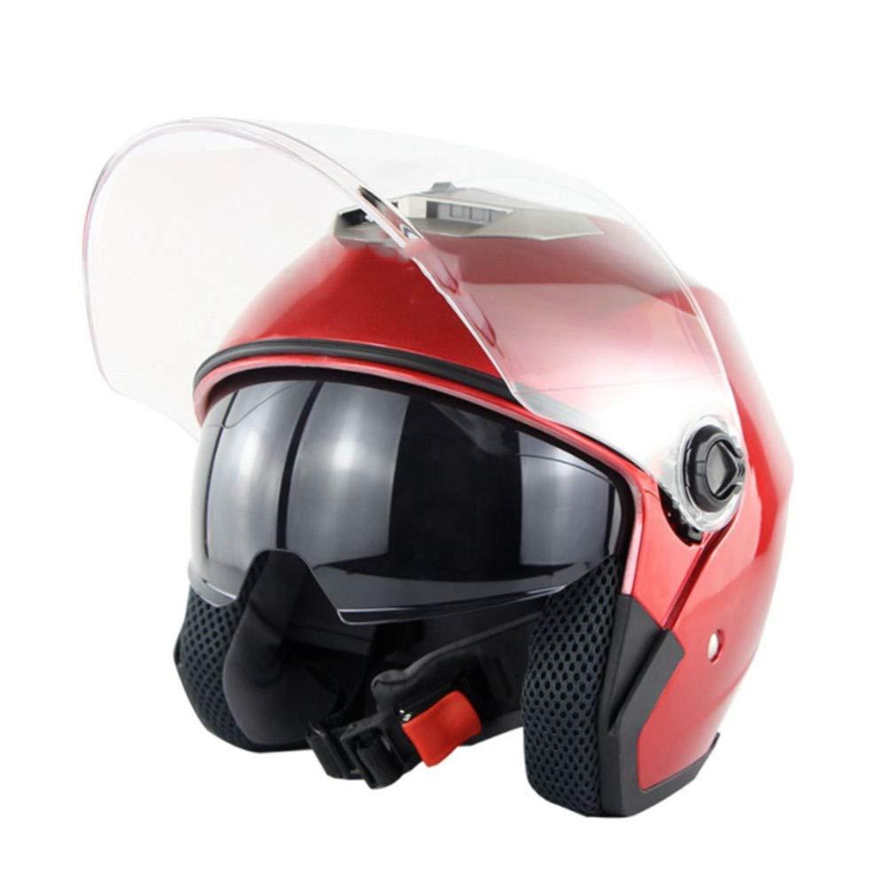 HELOET Motorrad Elektrofahrzeug Doppellinse Helm Männer Und Frauen Halbe Helm Helm Halbe Sommer Helm Vier Jahreszeiten Uv-schutzhelm,Grau-XL a5bafb