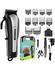 BEAUTURAL ProfessionalCordless Pet Grooming Clipper Kit, Low Noise Rechargeable Dog and Cat Hair Trimmer with Combs, Scissors, Styling Apron, Storage Case