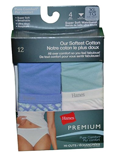 Hanes Premium Women's Pure Comfort Cotton Bikini 12-Pack (7/L)