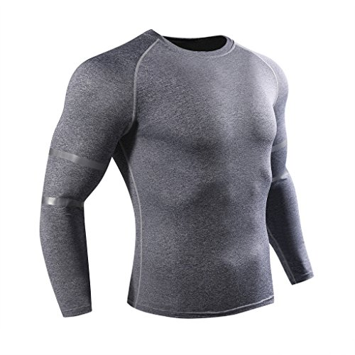 ADHEMAR Men's Long Sleeve T-Shirt Baselayer Cool Dry Shirts Compression Top Gray (Gray Thermal Long Sleeve Shirt)