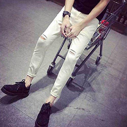 Distrutto Bianco Casual Straight Strappati Jeans Skinny Pantaloni Uomo Taglio Fit zqSwgX1XxR