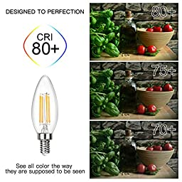 SHINE HAI Candelabra LED Filament Bulbs Dimmable 40W Equivalent, 2700K Warm White Chandelier B11 LED Bulb E12 Base Decorative Candle Light Bulb, ETL Listed (Pack of 6)