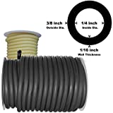 """50 Feet Black or Amber Rubber Latex Tubing 3/8""""OD 1/4""""ID (Select Color) #804R"""
