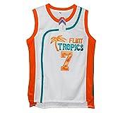 MOLPE Men's Coffee Black 7' Flint Tropics Basketball Jersey S-XXXL White (XL)