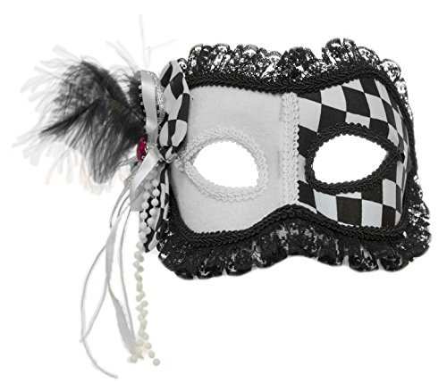 [Harlequin Black and White Venetian Mask with Bow] (Miming Costumes)