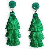 Me&Hz Green Thread Tassel Earrings for Women Girls Dangle Drop Statement Tiered Tassel Kelly Green Earrings Bohemian Jewelry