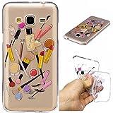 Qiaogle Phone Case - Soft TPU Silicone Case Cover Back Skin for Samsung Galaxy J3 / J3 (2016) J310 (5.0 inch) - HC10 / Lip gloss + eyebrow pencil