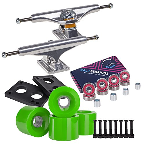 Independent Cal 7 Skateboard Combo, 169 Trucks with ABEC 7 65mm Wheels (Green)