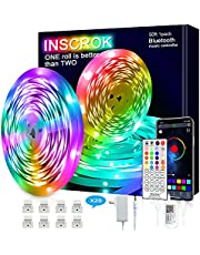 Inscrok Music LED Lights Strip 50ft with APP for Bedroom, Living Room, Party, Holiday
