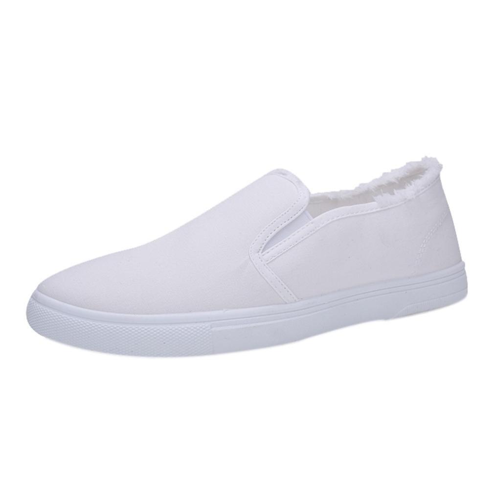 Simayixx Men's Single Shoes College Style Canvas White Shoes Student Shoes