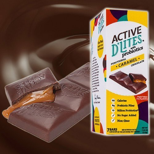 Active DLites Probiotic Chocolate Bar (Caramel) 7 Count / Week Supply for Healthy Diet by Active D'Lites