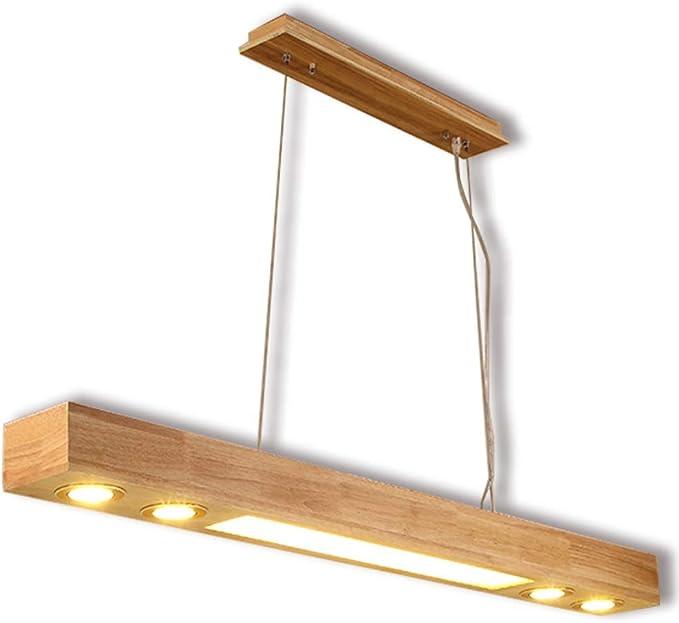 Lámpara colgante LED mesa de comedor lámpara de madera comedor moderno altura lámpara de techo ajustable iluminación de la oficina lámpara de la cocina barra de bar barra de café cálido luz