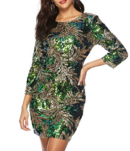 Zshujun Women's 1920s Glitter Sequin Mini Party Dress Club Bodycon Gowns 2467(Green, L) ()
