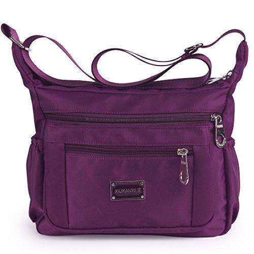 Crossbody Bags for Women Water Resistant Lightweight Nylon With Shoulder Bags (Deep - Body Bag Cross Purple