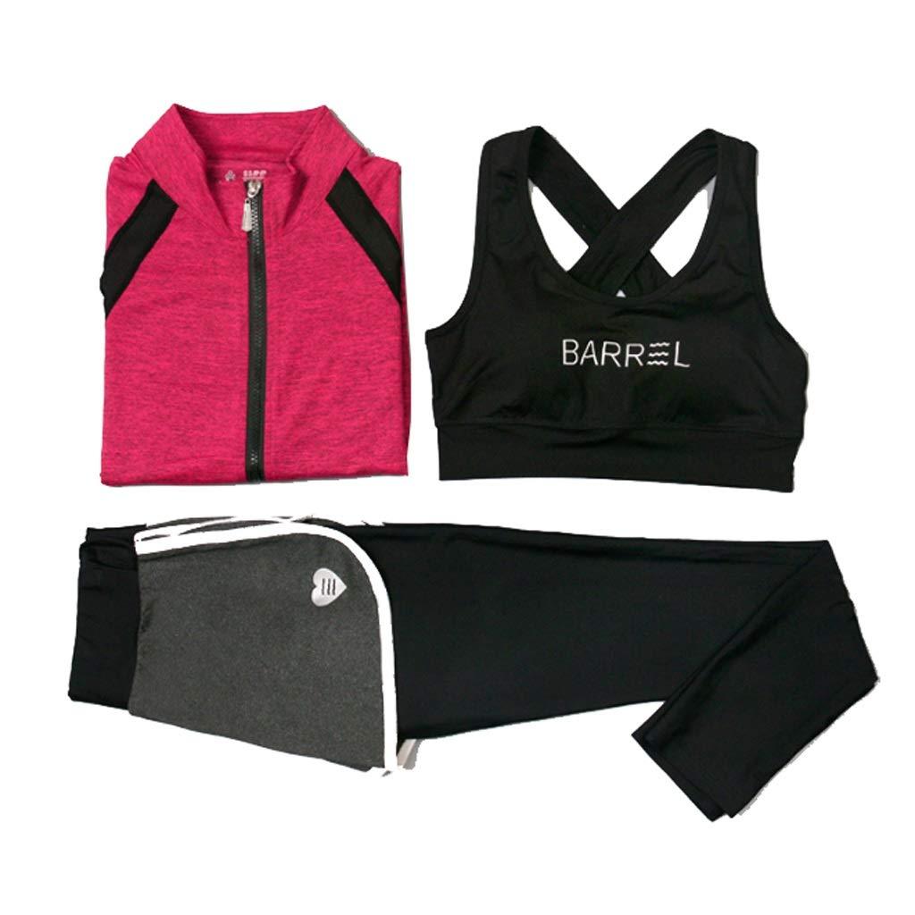 Lilongjiao Frauen Sportsweste Weste Tops und Strumpfhosen Stretch Fitness Kleidung Anzug Yoga Kleidung Sportbekleidung Anzug dreiteilig