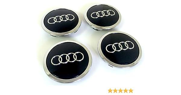 8T0 601 170A Juego de 4 tapas para llantas de aleación, 69 mm, diseño con logotipo de Audi, acabado cromado, negro: Amazon.es: Coche y moto