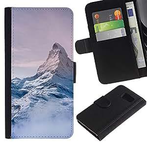 Be Good Phone Accessory // Caso del tirón Billetera de Cuero Titular de la tarjeta Carcasa Funda de Protección para Samsung Galaxy S6 SM-G920 // Mountain Snow Sky High White Blue