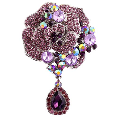 Elegant Flower Silver-Plated Large Brooch Pin with Rhinestone Crystal Teardrop (Color - Purple) ()