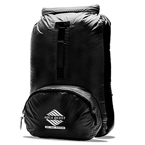 Aqua Quest HIMAL Black Packable Backpack 20L Waterproof Tote for Kayak, Fishing, Paddling, - 4 Zip Rei 1