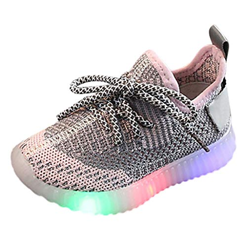 iYBUIA Children Baby Girls Boys Non-Slip Lightweight Soft Mesh LED Light Luminous Running Sport Sneaker Shoes Pink