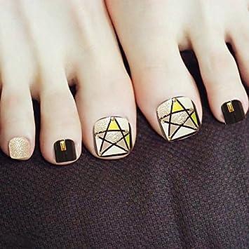 24pcs Black False Toe Nails Artificial Toenails Short Square Feet Nail Tips Full Cover For Women