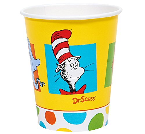 Dr Seuss Cat in the Hat Party Supplies - 9 oz. Paper Cups (8) (Grinch Hat)