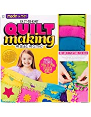 Made By Me Easy to Knot Quilt Making Kit by Horizon Group USA, No Sewing, No Cutting, 59 in. x 39 in. Fleece Blanket, Pre-Cut Squares & Felt Decals (57964F), Multicolor