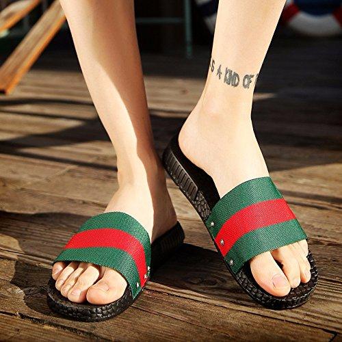 estate Nuovo prodotto Uomini sandali selvaggio Tempo libero Roma tendenza Coppia sandali Spiaggia sandali ,Verde e rosso,US=7.5,UK=7,EU=40 2/3,CN=41