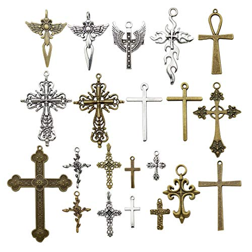 20pcs Mixed Corss Charms Pendants Beads Charms Pendants for Crafting, Jewelry Findings Making Accessory For DIY Necklace Bracelet Craft Supplies M23 (Cross charms)
