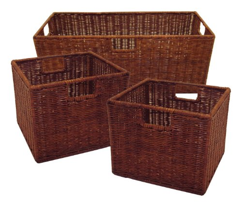 Winsome Wood Leo Storage Baskets, Set of 3, Walnut