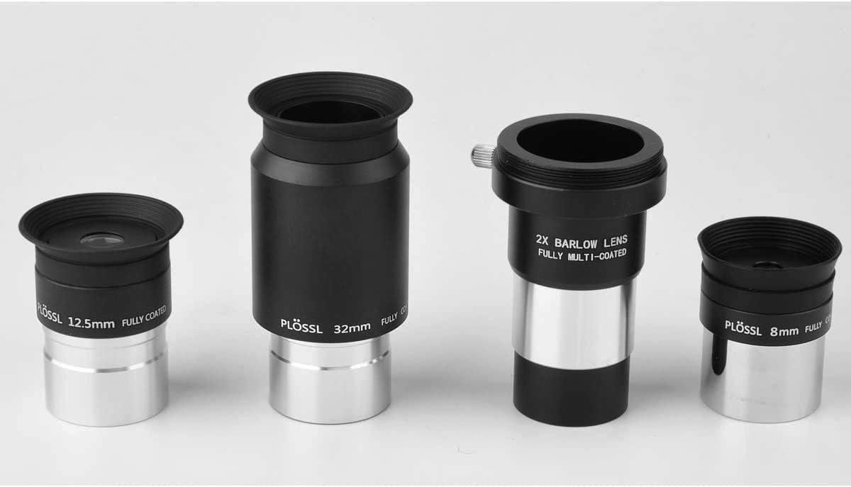 SOLOMAKR - Juego de lentes de telescopio de 1,25 pulgadas y 2 x Multirevestidas Barlow LensTelescope Kit de accesorios - 8 mm, 12,5 mm 32 mm Plossl - Filtros estándar de 1,25 pulgadas