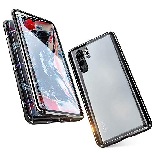 Case for Huawei P30 Pro Flip Cover Magnetic Adsorption Technology Metal Bumper Frame with Transparent 9H Tempered Glass Full Screen Front and Back Cover 360 Degrees Protection Ultra Slim Case Cover