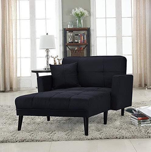 Campton Modern Fabric Recliner Sleeper Chaise Lounge Chair, Black   Model LNGCHR - 24