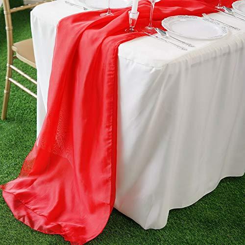 Mikash 10 pcs 22x80 Premium Chiffon Extra Wide Wedding Table Top Runners Decorations | Model WDDNGDCRTN - 15976 |